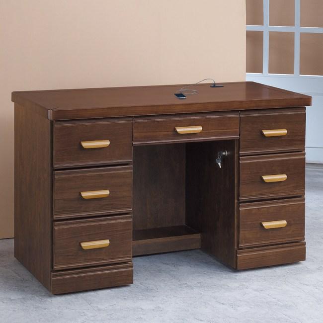 【YFS】薇拉4.2尺實木書桌-127x59x82cm