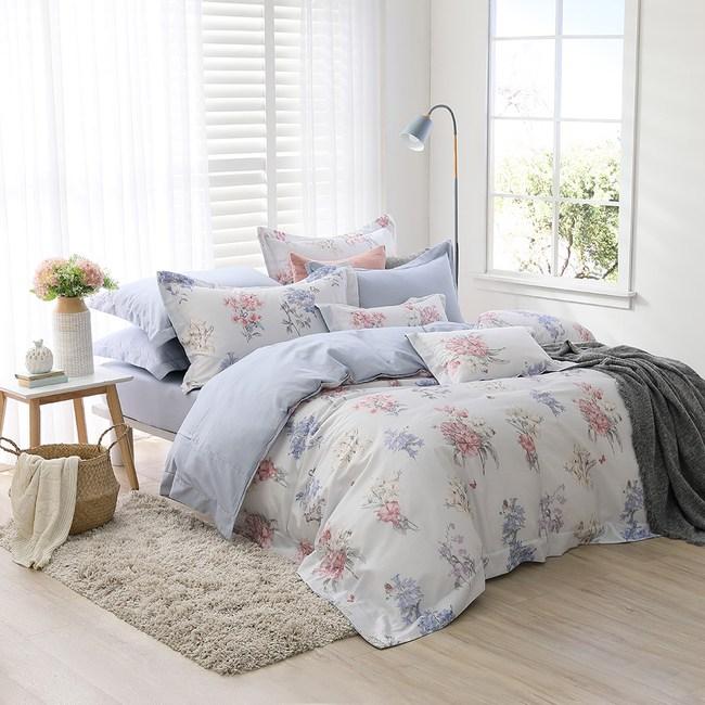 MONTAGUT-悠然花青-300織紗長絨棉兩用被床包組(特大)