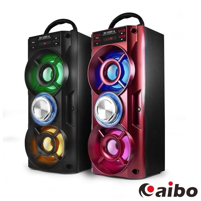 【aibo】L105 行動卡拉OK 手提木質藍牙喇叭(隨身碟/TF卡)紅色