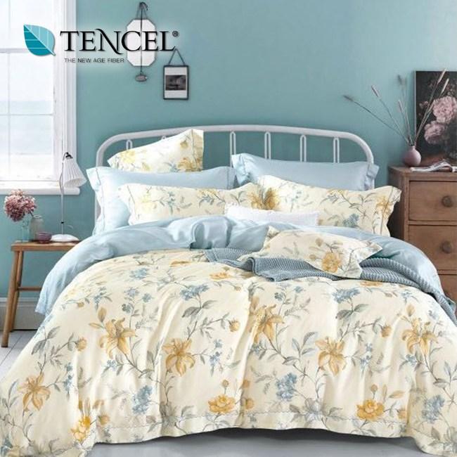 【貝兒居家寢飾生活館】頂級100%天絲床罩鋪棉兩用被七件組(特大雙人/醉花都)