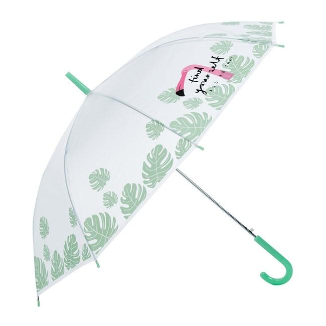 樂嫚妮 自動開直立雨傘-火烈鳥-綠柄289火烈鳥-綠