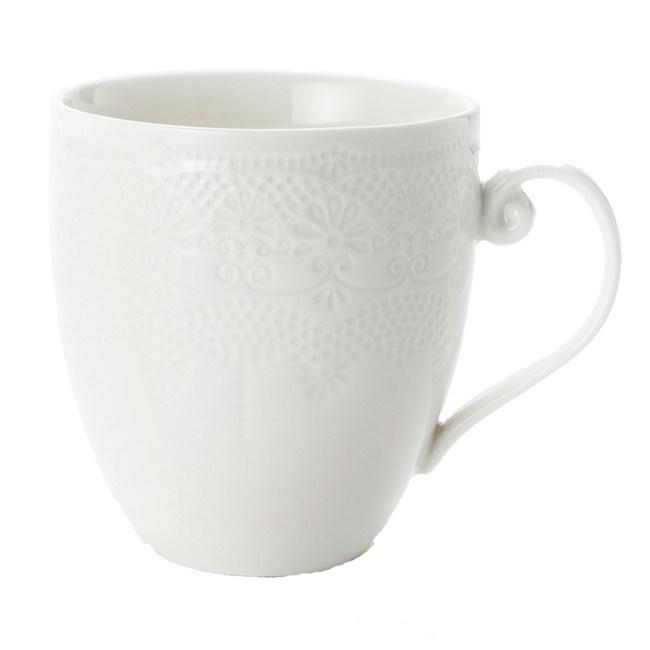 HOLA 諾娜蕾絲馬克杯 310ml 白