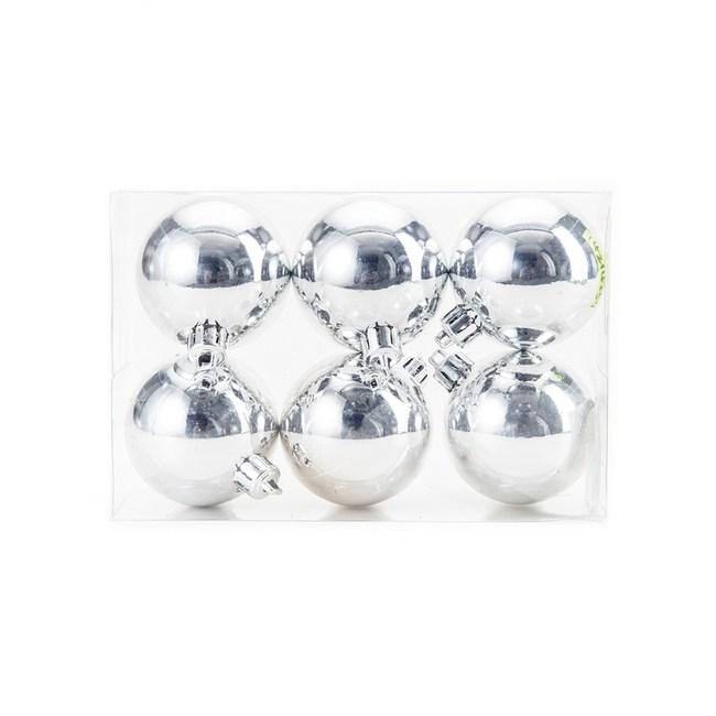 吊飾球6入組 亮面銀 6cm