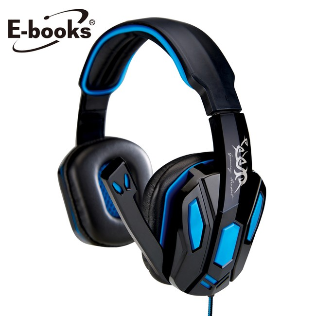 E-books S42 電競頭戴耳機麥克風藍