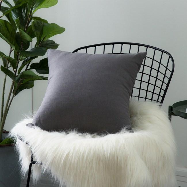 IN-HOUSE-棉麻抱枕-鐵灰(50x50cm)