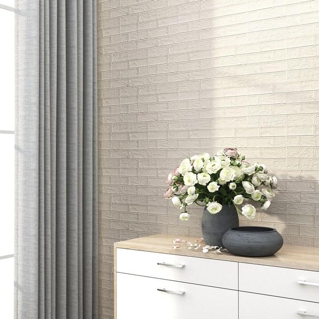 特力屋防焰隔音泡棉磚-文化石白4片30x60cm