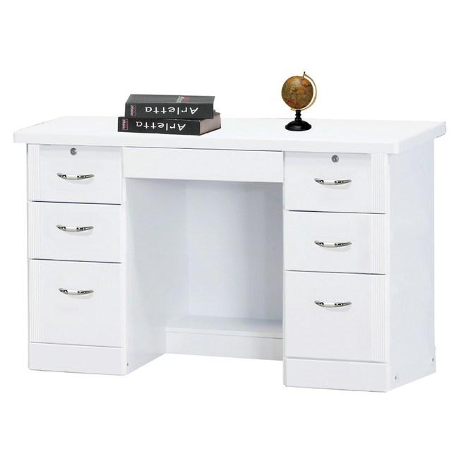 【YFS】蒙莎白色烤漆4.2尺書桌下座126.5x59.5x76.5c