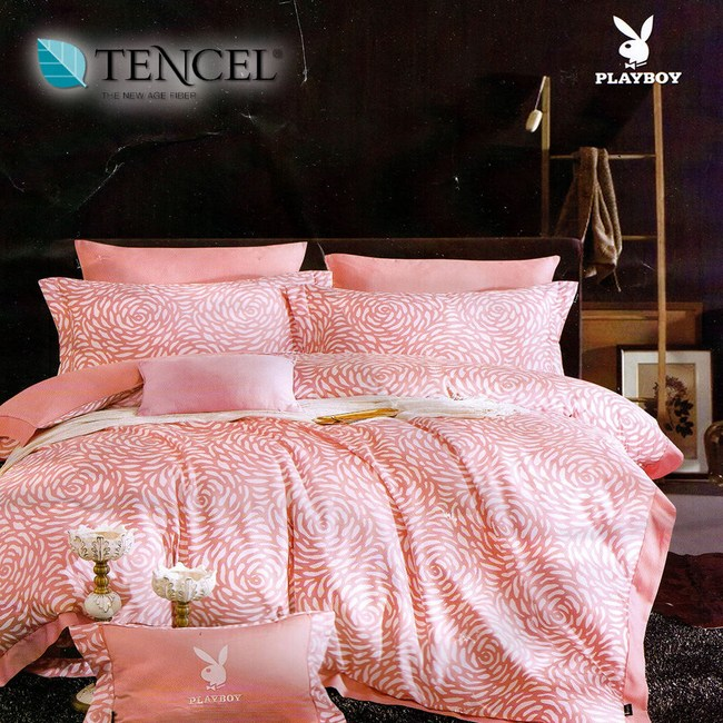 【貝兒居家寢飾生活館】PLAYBOY裸睡系列60支萊賽爾天絲床包五件組(加大/水漾玫瑰)