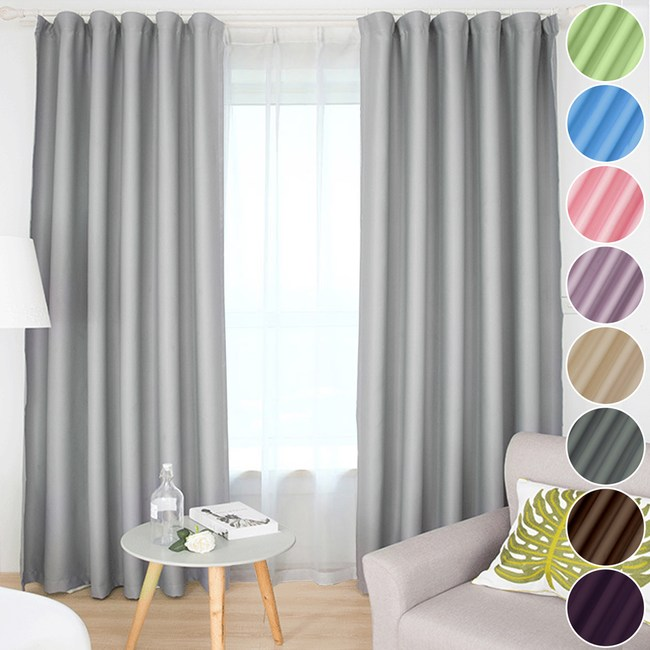 【小銅板-加厚純色遮光窗簾】寬100X高130-2片入-總寬200公分純色粉藍