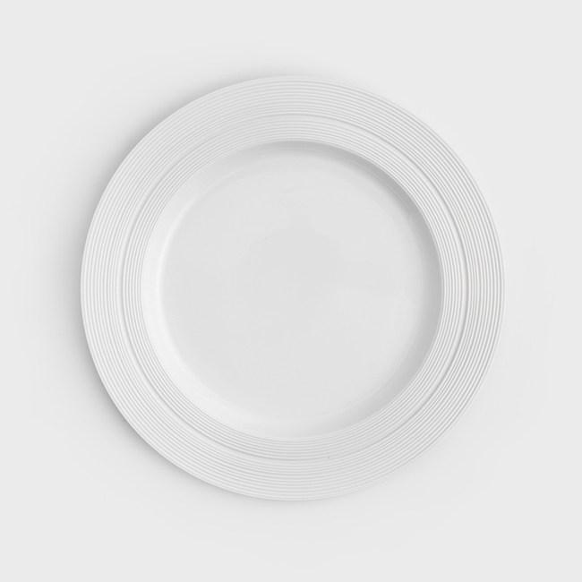 WAGA 日式 沙石圓軌21cm陶瓷圓盤-淨雪白