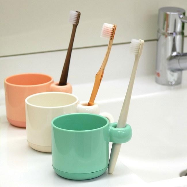 日本LEC兒童專用(可立牙刷)抗菌防汙漱口杯2入裝藍色+白色