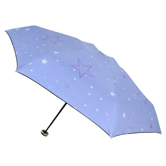 2mm 100%遮光 采漾印花黑膠降溫五折手開傘_星星