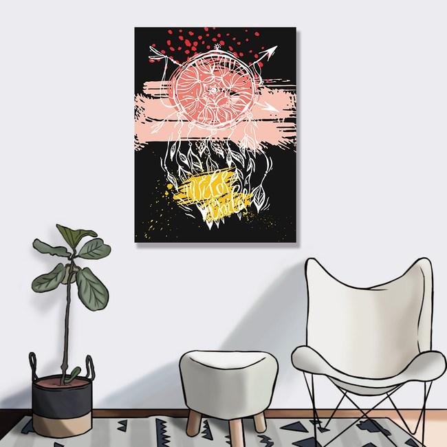 【24mama 掛畫】單聯式油畫布無框畫60x80cm-抽象捕夢網油畫布無時鐘抽象捕夢網0