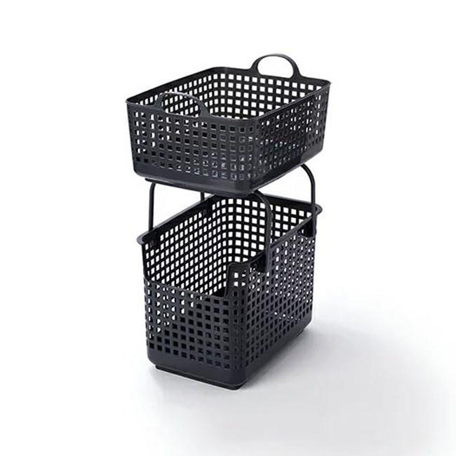 【日本Like it】北歐風可堆疊組合式收納洗衣籃(整組)-深灰色