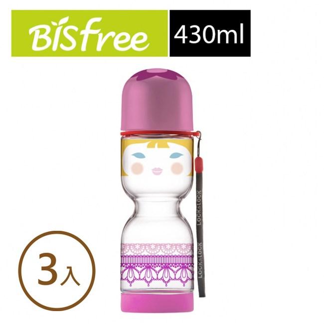 樂扣樂扣國家娃娃創意優質水壺 430ML 粉紅貴族拉拉 3入