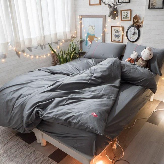 Life素色系列- 紳士灰  100%精梳棉(60支) 床包枕套組/雙人