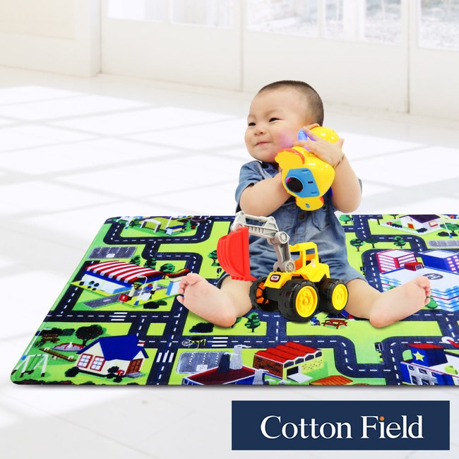 棉花田【魔法空間】法蘭絨印花防滑遊戲毯-4款可選(76x117cm)街道