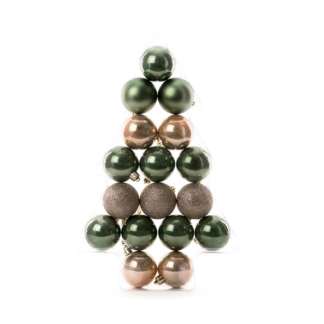 吊飾球17入組 橄欖綠/香檳金 6cm