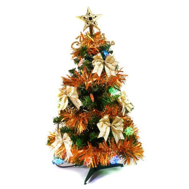 【摩達客】台灣製2尺(60cm)經典綠色聖誕樹(雙金系飾品+LED20燈彩光雪花燈插電式