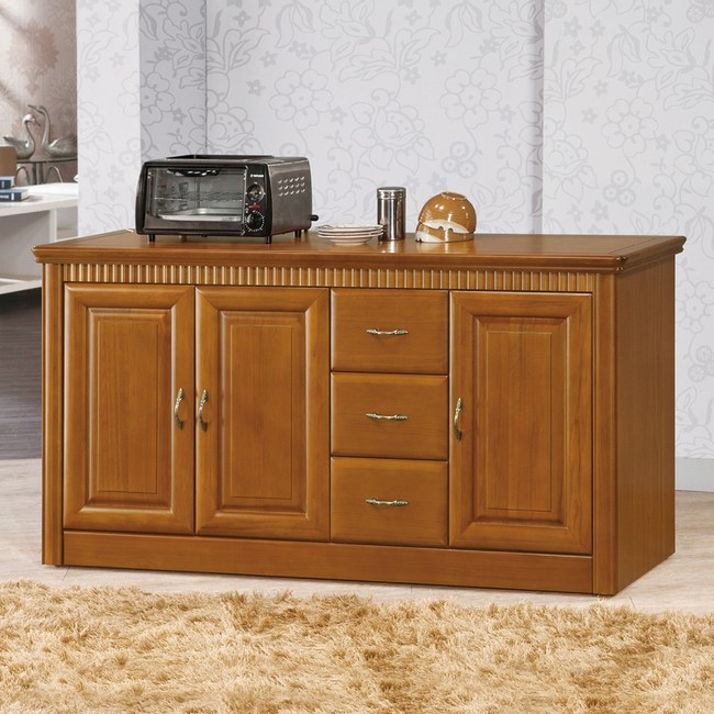 【YFS】約克實木柚木色5尺碗盤櫃-152x46x82cm
