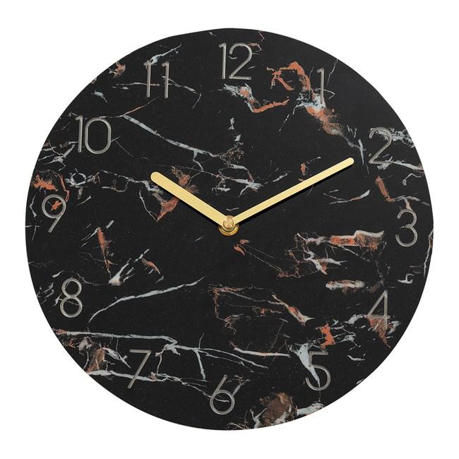 樂嫚妮 仿大理石紋掛鐘/時鐘/11吋/低噪-(2色)黑