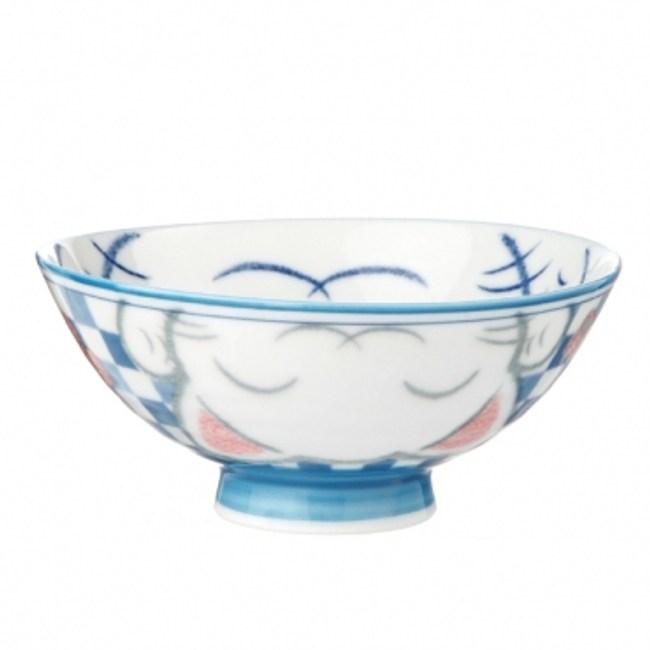 日本美濃燒飯碗 M 粉藍貓