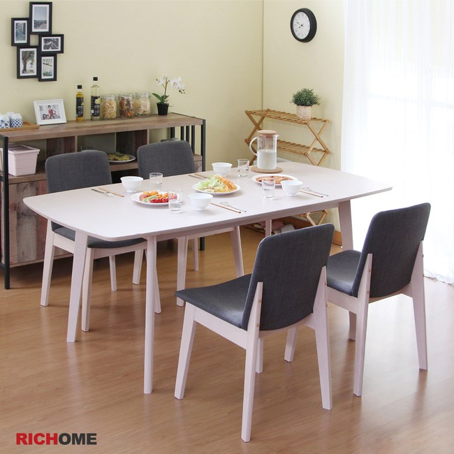 【RICHOME】安妮塔餐桌椅組(一桌四椅)白橡木色