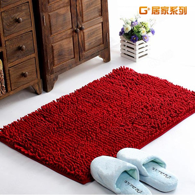 【G+居家】超細纖維長毛吸水止滑墊 40x60cm - 熱情紅