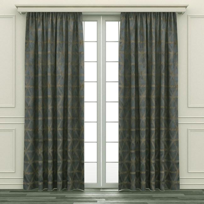 HOLA 幾何緹花隔熱背膠全遮光落地窗簾 270x230cm 灰金色