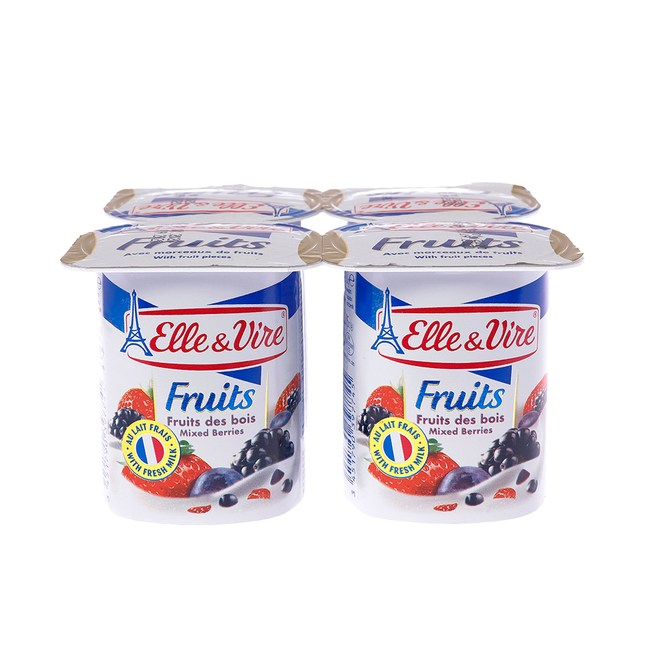 法國愛樂薇Elle & Vire 水果優格-綜合莓果 125gX4入