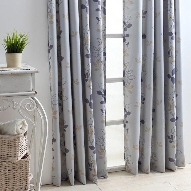 超值麗光緞印花遮光窗簾 花葉風格款 200x165cm