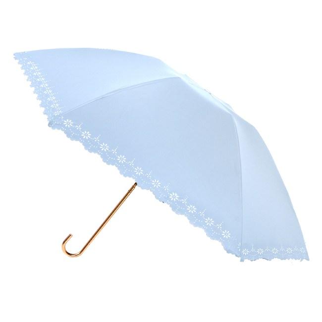 2mm 100%遮光 鏤空花邊黑膠輕量彎把手開傘_淺藍