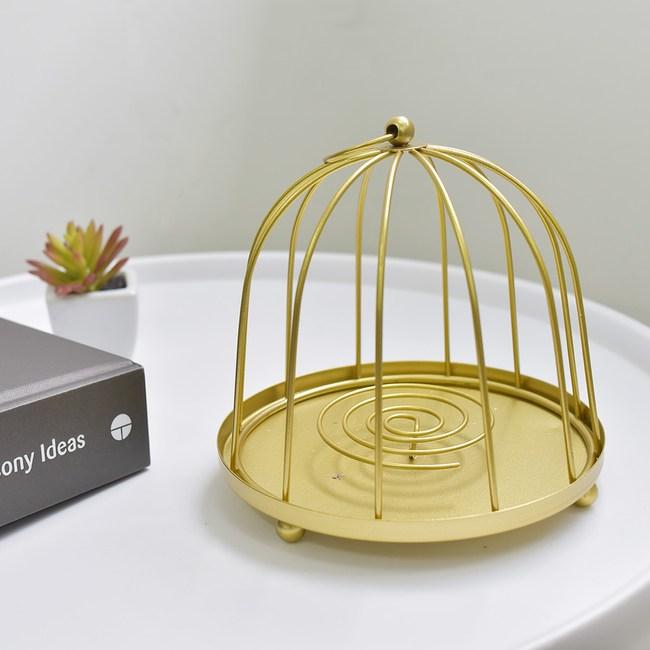 【Meric Garden】復古創意手工金屬蚊香盤/薰香盤/小物收納盤金色圓鳥籠