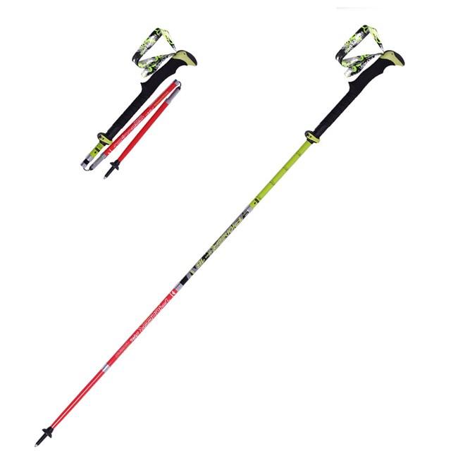 【PUSH!戶外休閒登山用品】碳纖維鎖緊系統五節折疊登山杖(紅綠色1入)P73