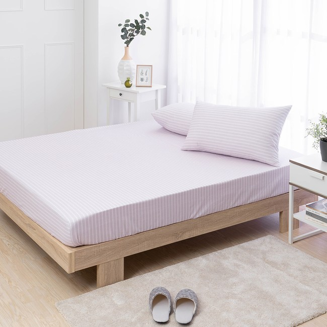 MONTAGUT-紫晴花-200織紗精梳棉三件式床包組(加大)