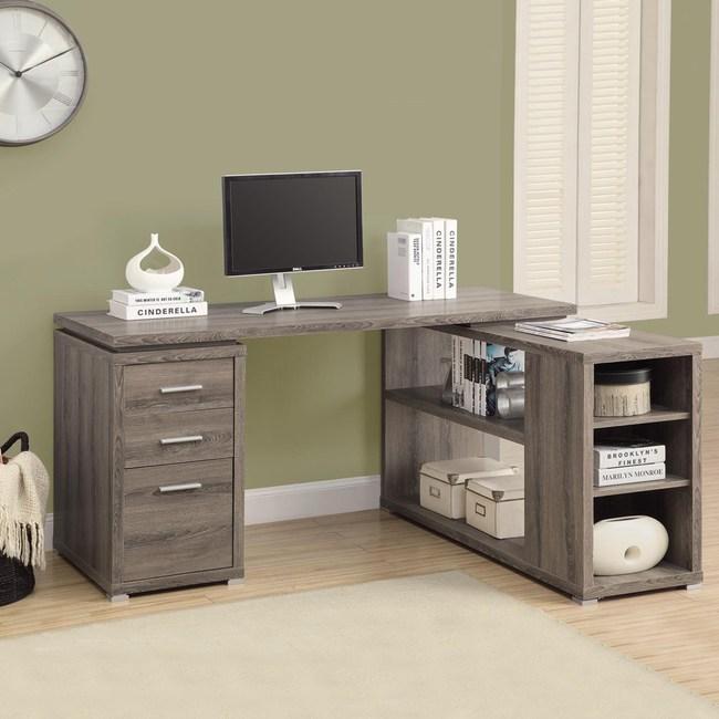 康迪仕複合式電腦書桌 深木色款 採E1板材 鋼製滑軌設計