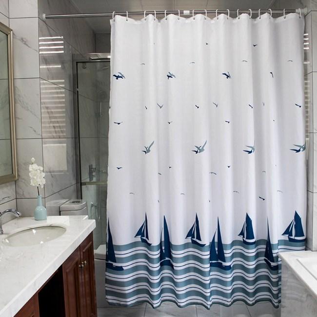 【三房兩廳】北歐時尚防水防霉加厚浴簾180x180cm (帆船)