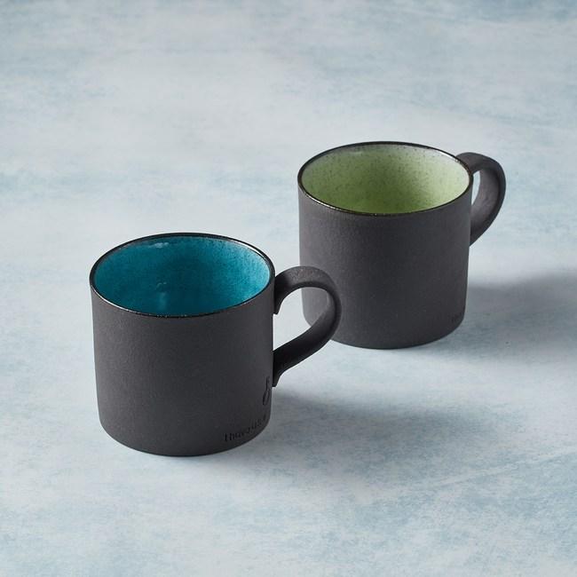 【有種創意】日本美濃燒 - 黑陶釉彩馬克杯 - 對杯組(2件式)