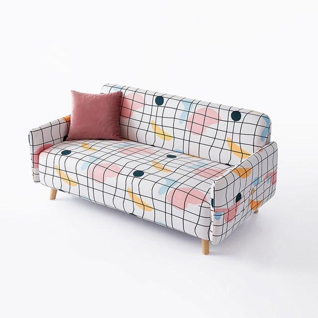林氏木業北歐小戶型三人座布沙發S047-點線面