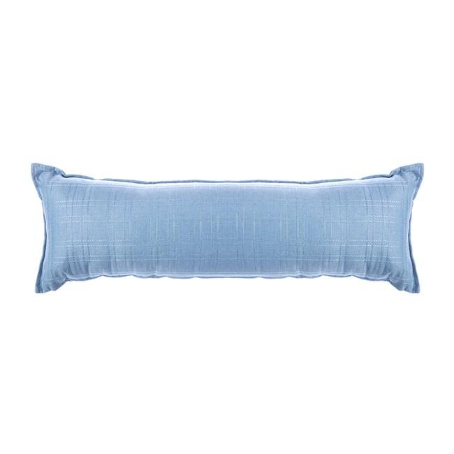 格紋編織長抱枕40x120cm 藍