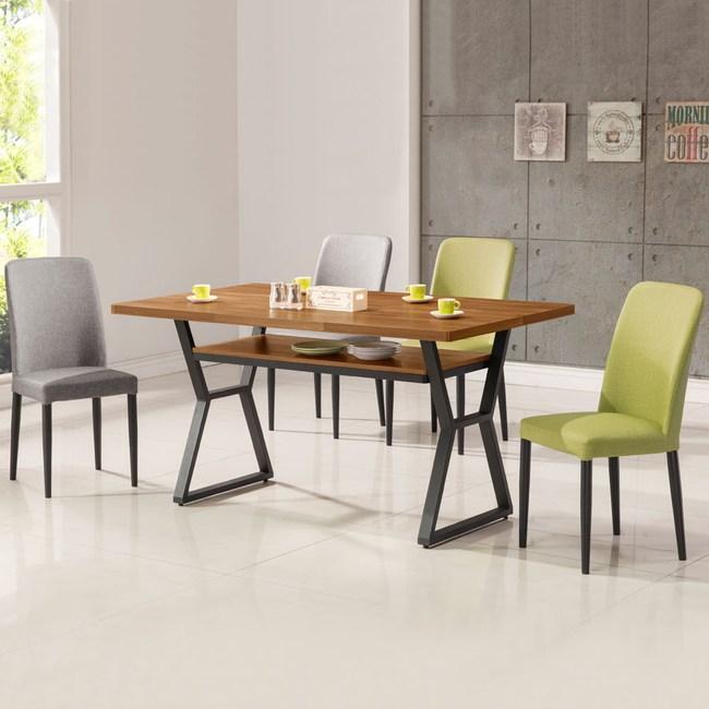 Homelike 肯納工業風4尺餐桌椅組(一桌四椅)二灰二綠椅