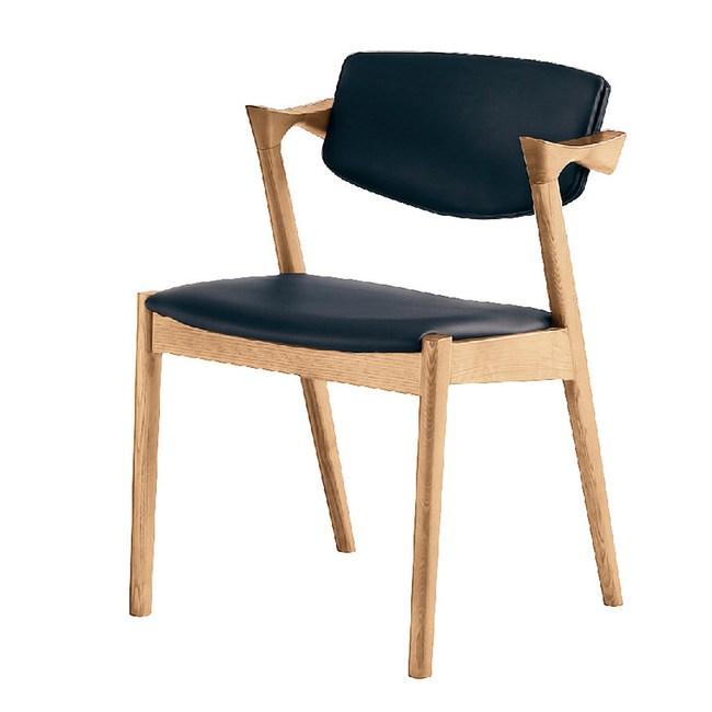 【YFS】瑪麗黑色皮墊椅-64x55x75cm(兩色可選)原木