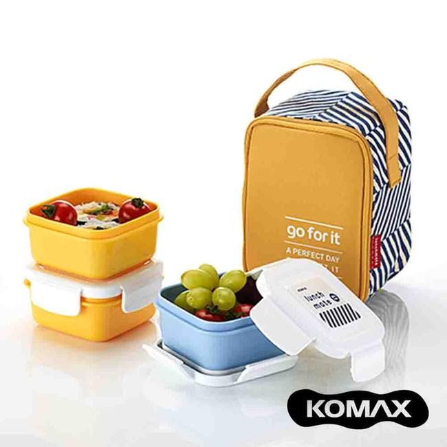 韓國KOMAX 迷你餐盒三件組(附提袋)-共2色黃