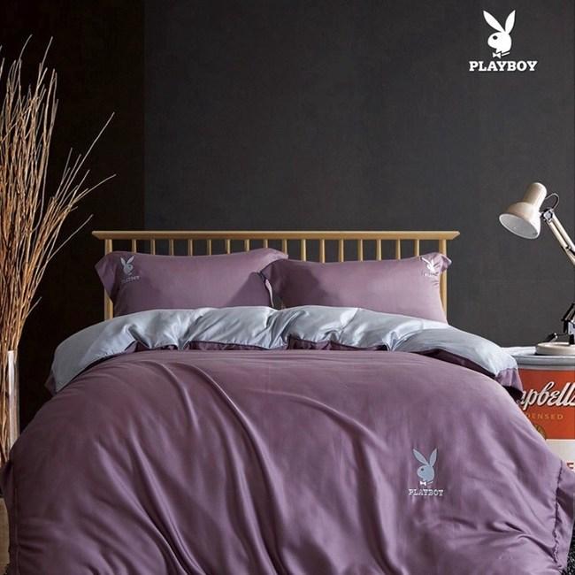 PLAYBOY雙色-60支天絲床包兩用被四件組-紫(加大雙人)