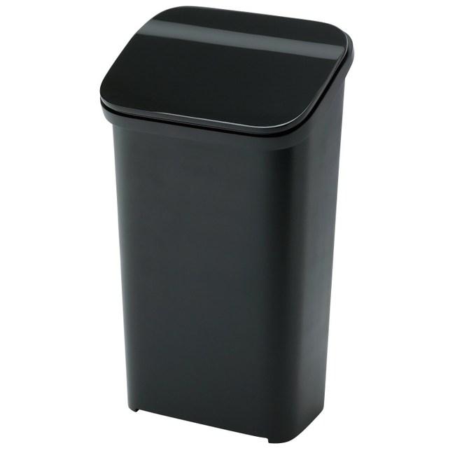 【日本 RISU】Smooth按壓式緩衝功能垃圾桶19L -黑色