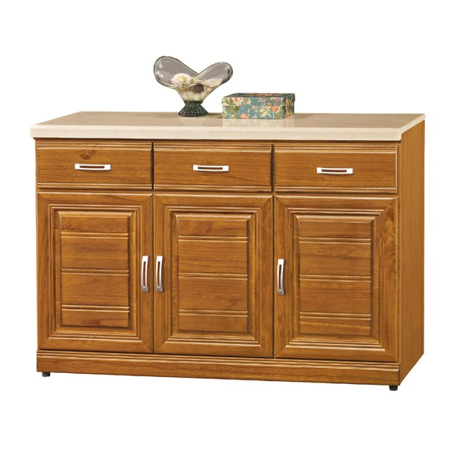 【YFS】華斯實木4尺石面碗盤櫃下座-120x42x81cm(兩色可選樟木