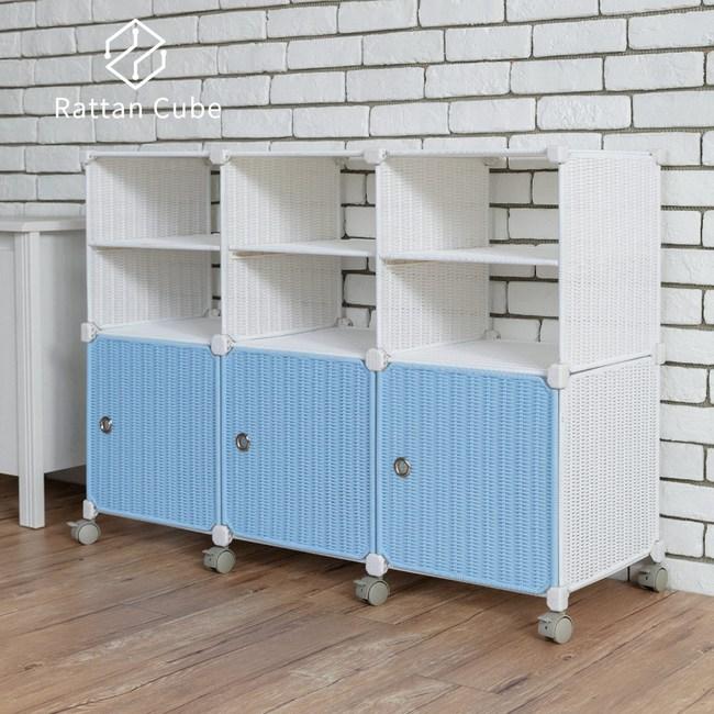 【藤立方】組合2層6格收納置物架(3門板+3隔板+附輪)-白色/粉藍色-DIY