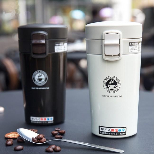 【PUSH!】不鏽鋼真空保溫杯保溫杯水壺(370ml黑色)E101
