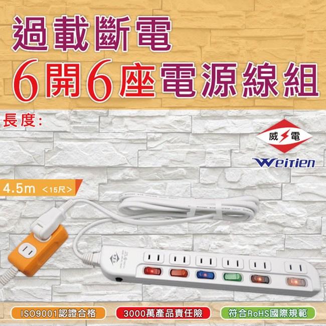 威電 過載斷電6開6座電源線組15呎(CK2662-15)