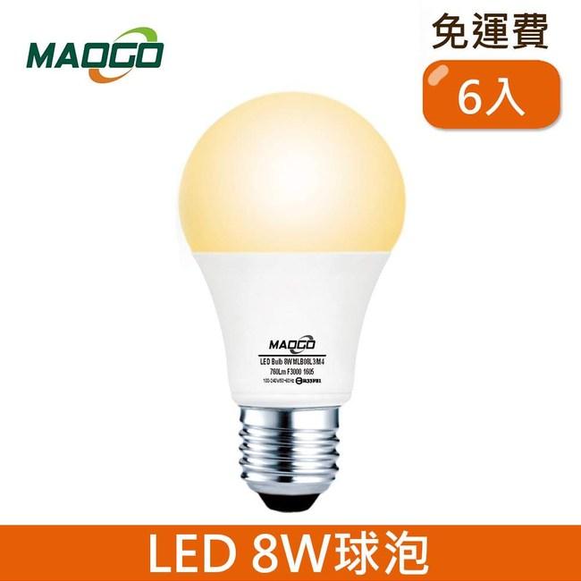 HONEY COMB Maogo LED8W廣角度球泡6入 TB808Y-06 / 黃光